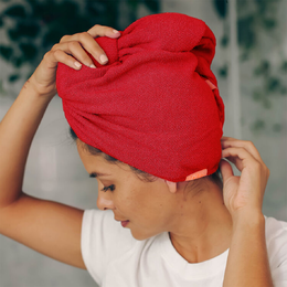 AQUIS Rapid Dry Lisse Hair Turban Ruby